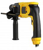 stock photo of hammer drill  - professional rotary hammer with a drill on white background - JPG