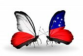 foto of samoa  - Two butterflies with flags on wings as symbol of relations Poland and Samoa - JPG