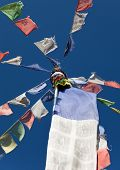 pic of tibetan  - View of colored Tibetan prayer flags in Nepal - JPG