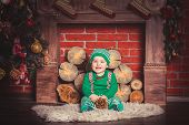 foto of christmas baby  - Christmas photoshoot for baby boy in Ukraine - JPG