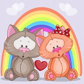 picture of enamored  - Enamored cats on a background of rainbow - JPG