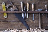 image of work bench  - Carpenter tools on a work bench carpentry - JPG