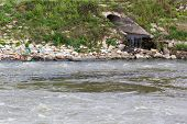 picture of water pollution  - Pollution of Water. Chemical and Biological Contamination. Eco Disaster.