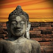 picture of stone sculpture  - buddha statue sculpture stone with golden face in temple buddhism - JPG