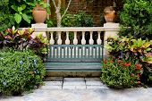 image of bench  - Classic Garden bench decorations nature view background - JPG