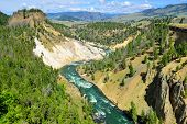 pic of calcite  - Calcite Springs near Tower Rosevelt in Yellowstone national park in summer - JPG