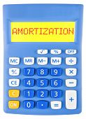 pic of amortization  - Calculator with AMORTIZATION on display isolated on white background - JPG