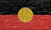 picture of aborigines  - flag of Australian Aboriginal painted on brick wall - JPG