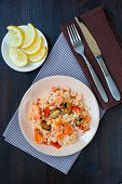 picture of stir fry  - Thai dish of stir fried rice noodles with prawns and mussels