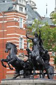 stock photo of westminster bridge  - Statue of Boudicca at Westminster Bridge in London, UK ** Note: Soft Focus at 100%, best at smaller sizes - JPG