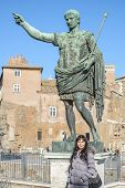 foto of emperor  - Ruins buildings and statue in the foro romano in Rome italy emperor cesare - JPG