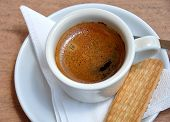 image of biscuits  - Detailed view of fresh coffee in cup and biscuits - JPG