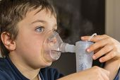 foto of oxygen mask  - kid with mask for inhalations, Electric Nebulizer