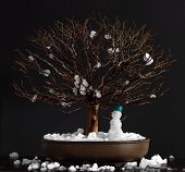 foto of elm  - Elm bonsai tree with snowman in winter on a dark background - JPG