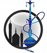 foto of hookah  - Blue eastern hookah silhouette for the vector - JPG