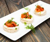 image of canapes  - canape with salmon and dill for party - JPG