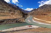pic of tourist-spot  - Scenic view of Confluence of Zanskar river from left and Indus rivers from up right  - JPG