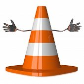 stock photo of cone  - Welcoming traffic cone character isolated on white - JPG