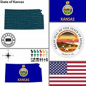 image of kansas  - Vector set of Kansas state with flag and icons on white background - JPG