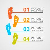 foto of fingers legs  - Foot prints info art leg - JPG