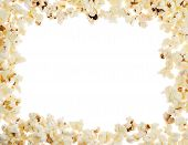 picture of popcorn  - Frame made of popcorn over the white background - JPG