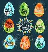 foto of easter eggs bunny  - Happy easter egg painted pastel colored stylized kids style egg on a dark blue background - JPG