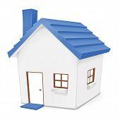 image of residential home  - Cute vector illustration of blue home for residential - JPG