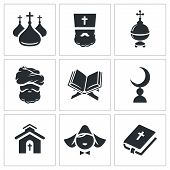 Постер, плакат: Religion Confessions Icon Set