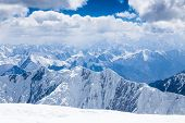 picture of lenin  - Mountain view from the top of Lenin Peak in Pamir region Kyrgyzstan - JPG