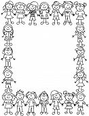 image of cartoon character  - Frame or page border of cute kid cartoon characters holding hands  - JPG