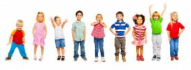 picture of combinations  - Combination of a number of divers looking little preschool children isolated on white standing - JPG
