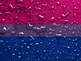 pic of bisexual  - flag of Bisexual pride with rain drops - JPG