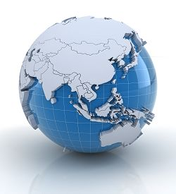 stock photo of globe  - Globe with extruded continents and national borders - JPG
