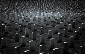 stock photo of headstones  - Headstone markers of stretch along the landscape in black and white  - JPG