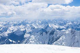 picture of lenin  - Mountain view from the top of Lenin Peak in Pamir region Kyrgyzstan - JPG