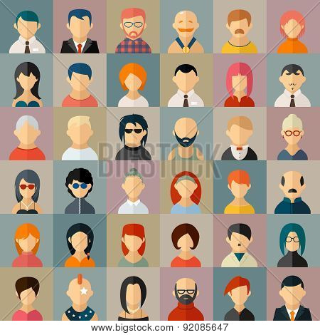 Flat people character avatar icons