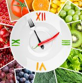 pic of vegetable food fruit  - Food clock with vegetables and fruits - JPG