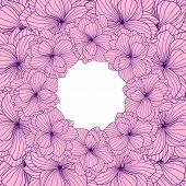 picture of begonias  - Pink and violet Begonia flowers round frame - JPG