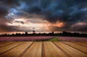 image of cloud formation  - Colorful vivid Summer sunset over lavender fields with lovely cloud formations with wooden planks floor - JPG