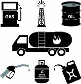 pic of derrick  - petrol and oil industry icons vector illustration - JPG