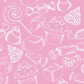 picture of valentine candy  - Hand Drawn Seamless Vector White Candy Pattern on pink Background for Happy Birthday card or Valentine Card - JPG