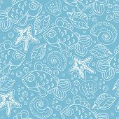 stock photo of shell-fishes  - Hand drawn seamless fish pattern with starfish bubbles shells and seaweed on blue color background - JPG