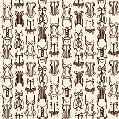 image of girdles  - Brown lingerie line art seamless pattern on beige background - JPG