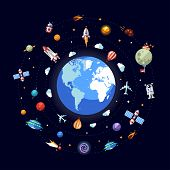 stock photo of spaceman  - Vector flat design illustration of Earth with space icons and infographics elements - JPG