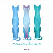 stock photo of t-shirt red  - Vector watercolor cats illustration - JPG