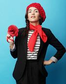 foto of french beret  - Beautiful girl in a red beret - JPG