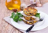 picture of veggie burger  - Vegetarian patties or burger made with chickpeas on white plate - JPG