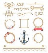 picture of roping  - set of beautiful elements made of nautical rope vector illustration - JPG