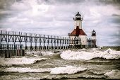 stock photo of rough-water  - St Joseph Lighthouse on Lake Michigan with rough water