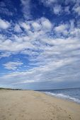 picture of martha  - Beach with blue sky and clouds on Martha - JPG